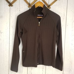 LUcy tech brown zip up athletic sweater